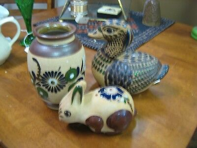Lot of 3 Vintage Mexican Tonala Pottery - Vase - Rabbit - Duck Made in Mexico