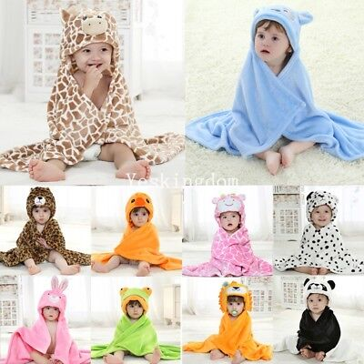 Animal Cartoon Baby Kids Hooded Fleece Bathrobe Toddler Bath Towel Blanket UK