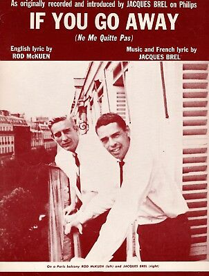 ROD McKUEN & JACQUES BREL sheet music IF YOU GO AWAY (1966)