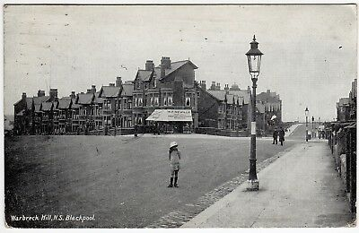 Postcard Neville Grocer`s-Girl On Road-Warbreck Hill-North Shore-Blackpool 1918
