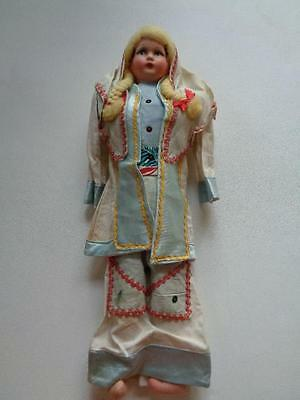 """Antique Doll Ethnic Outfit Vintage Style Face 20 1/2"""" Tall"""