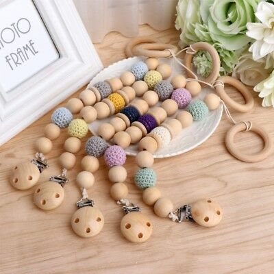 Infant Baby Wooden Bead Loop Pacifier Clip Nipple Holder Teeth Dummy Strap Chain