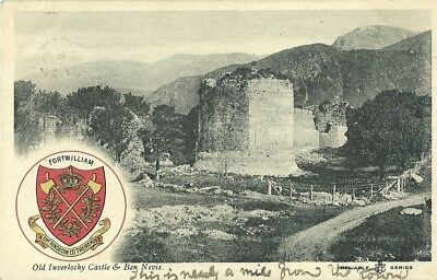 Old Inverlocky Castle & Ben Nevis 1905 Heraldic Reliable Series Postcard