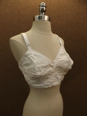 Vtg 1960s NEW NOS Do-All White Cotton Magic Pleat Contoured Cups Bra 38D Retro