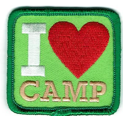 """/""""I LOVE CAMP/"""" Iron On Patch Scouts Cub Boy Girl Camping Camper Hiking"""