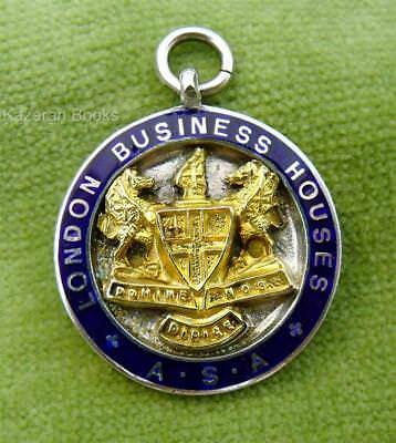 Vintage 1935 Solid Silver Enamel Watch Fob Or Medal London Business Houses Sport