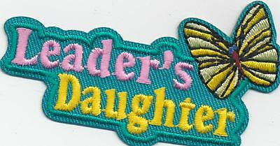 Girl Blue LEADER'S DAUGHTER Fun Patches Crests Badges SCOUT GUIDES Butterfly