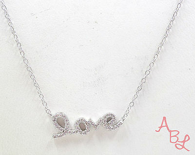 """Sterling Silver Vintage 925 Love Pendant Cable Chain Necklace 18"""" (1.5g) 549900"""