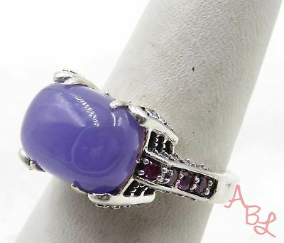 Sterling Silver Vintage 925 Dome Purple Jade & Amethyst Ring Sz 8 (7.5g) -570300