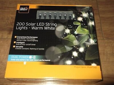Cole Bright 200 Solar LED String Lights - Warm White / Solar and Battery .
