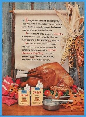1954 Old Gold Cigarettes Thanksgiving Turkey Indian Corn Colored Smoking Ad