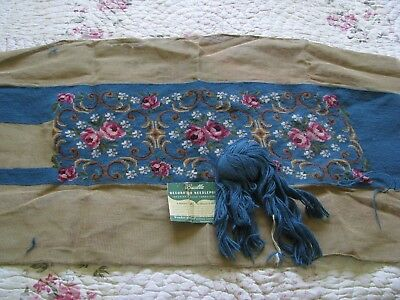 Vintage Unfinished Bucilla Wool Needlepoint Caves Pink Roses Flowers Pattern