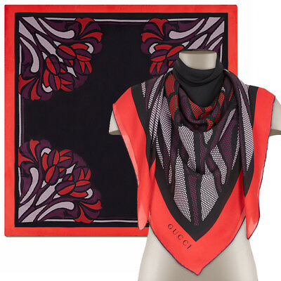 "HUGE 55 x 55"" NEW $595 GUCCI Red & Black ART DECO FLORAL 100% Silk SQUARE SCARF"