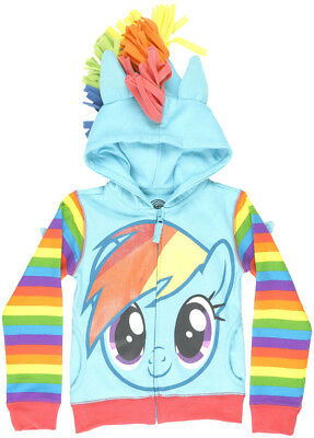 My Little Pony Rainbow Dash Zip Hooded Sweater Glitter Cartoon Show Wings Blue