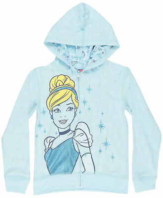 Girls Cinderella Reversible Jacket Hooded Disney Princess Blue