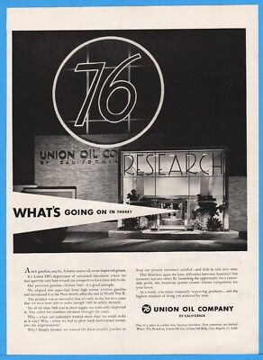 1954 Union 76 Oil California RESEARCH Whats Going On In There Print Ad