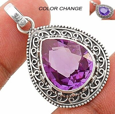 """Color Changing Alexandrite 925 Solid Sterling Silver Pendant Jewelry 1 1/3"""" Long"""