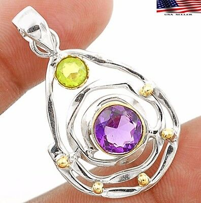 """Amethyst 925 Solid Genuine Sterling Silver Pendant Jewelry 1 1/2"""" Long"""