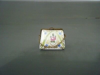 Vintage Limoges Peint Main SP Purse with Chain Hinged Trinket Box CUTE!