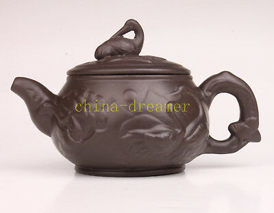 Purple Clay Teapot Authentic Red-Crowned Crane Noble Handicraft Collection