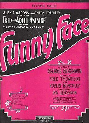 "George Gershwin ""FUNNY FACE"" Fred and Adele Astaire 1927 Broadway Sheet Music"
