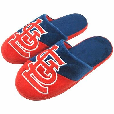 Pair of St Louis Cardinals Colorblock Slide Slippers Team Color House shoes NEW