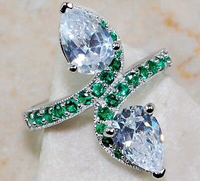 3CT Emerald & White Topaz 925 Solid Genuine Sterling Silver Ring Jewelry Sz 7