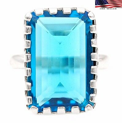 22CT Flawless Blue Topaz 925 Solid Genuine Sterling Silver Ring Sz 8.5