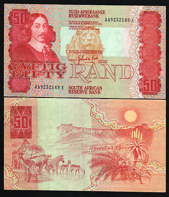 South Africa 50 Rand P122A 1984 Lion Deer Zebra Unc Aa Pfx Currency Money Note