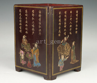 Old Chinese Hand-Painted Lacquerware Qing Dynasty Style Vase Pot Penholder Colle