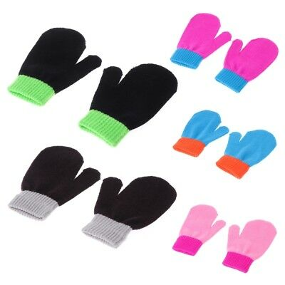 Girl Boy Child Gloves Winter Stretchy Splice Knitted Mittens Newborn Baby Kids