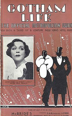 """Jane Cowl """"FIRST LADY"""" George S. Kaufman 1936 """"Gotham Life"""" New York City Guide"""