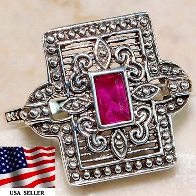 1CT Ruby 925 Solid Genuine Sterling Silver Art Deco Filigree Ring Jewelry Sz 6