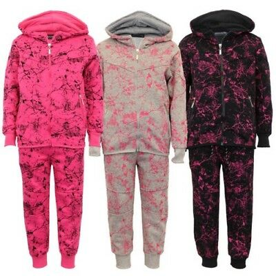 Girls Tracksuit Kids Hoodie Top Graphic Print Bottoms Trouser Fleece Lined Warm