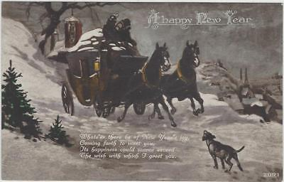 Horse Postcard - COURT-New Year 0 Stage Coach Scene