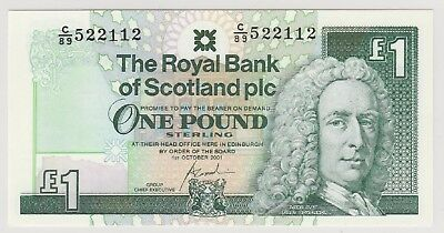 2001 £1 One Pound The Royal Bank Of Scotland  Note Uncirculated 112