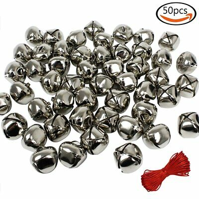 50pcs 1'' Christmas Silver Jingle Bells Jewelry DIY Craft & 20M Red Cord Gift
