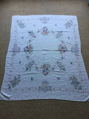 Printed Pattern Vintage Cotton Tablecloth Ready To Embroider/Cross Stitch