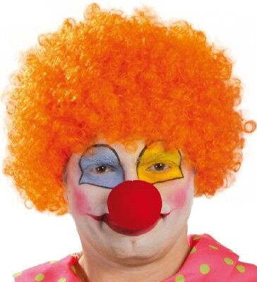 Ladies Mens Adult Orange Afro Wig Circus Clown Fancy Dress Costume Outfit