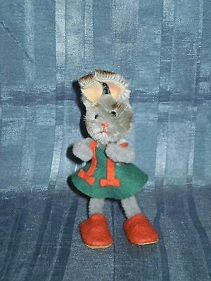 """Vintage Schuco Mascot Bunny Green Dress Red Shoes 4.3"""" Vgc"""