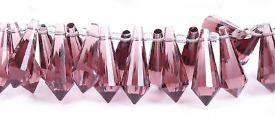 10pcs Lots Faceted Glass Crystal Pendant  Teardrop Shaped Bead 8x20mm Wine Red