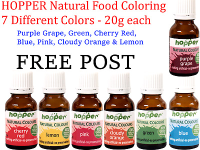 HOPPER Natural Food Coloring 7 Different Colors ( 20g each ) red blue purple etc