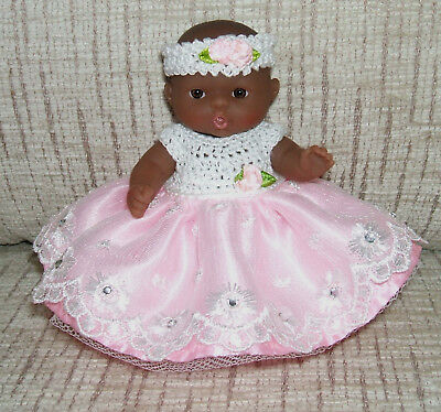 Berenguer AA 5 inch baby doll :Dressed in crochet, satin and Lace