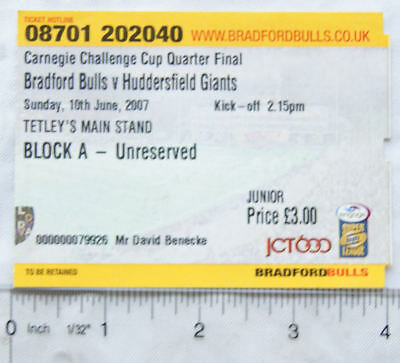 2007 ticket Bradford Bulls v Huddersfield Giants Quarter final, junior
