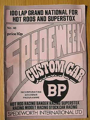 Stock Car Racing Programme Spedeworth Spedeweek No 40 Oct 1975 Supernational