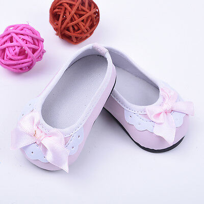 Handmade Pink Lace Bowknot Shoes For 18 Inch Doll Kids Toys Pop