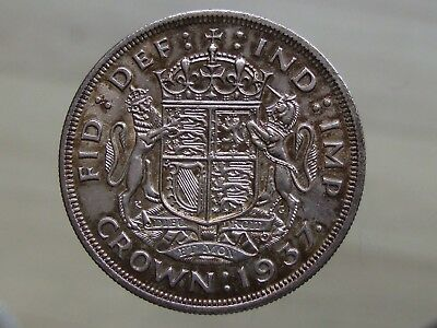 1937 George VI Coronation Silver Crown, Nice Condition - FREE POSTAGE (K62)