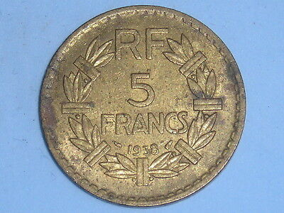 France Brass 5 Francs 1938 Scarce Date Stained  (217
