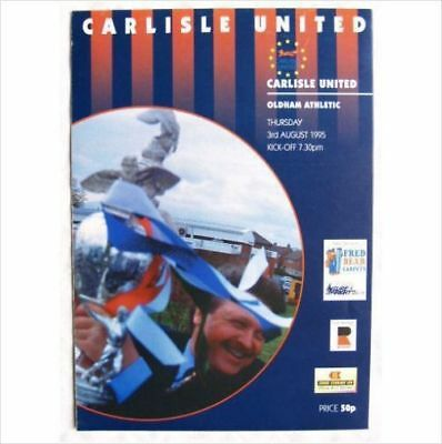 1995 programme Carlisle United v. Oldham Athletic, pre-season friendly