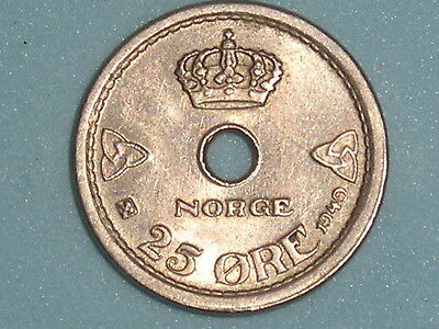 Norway / Norge 25 Ore 1949 Better Grade  (125